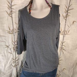 Bobeau XL Gray top dolman sleeves w/cutouts